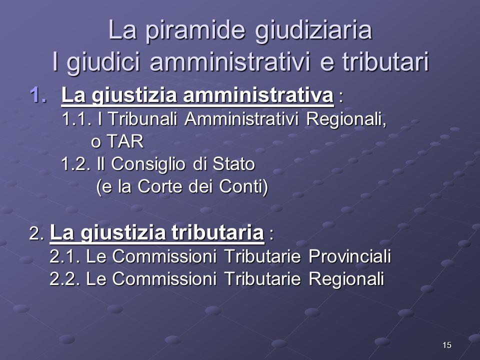 La piramide giudiziaria I giudici amministrativi e tributari