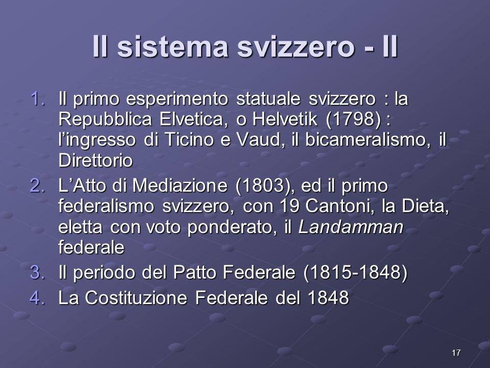 Il sistema svizzero - II