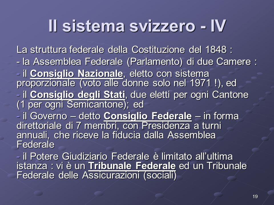 Il sistema svizzero - IV