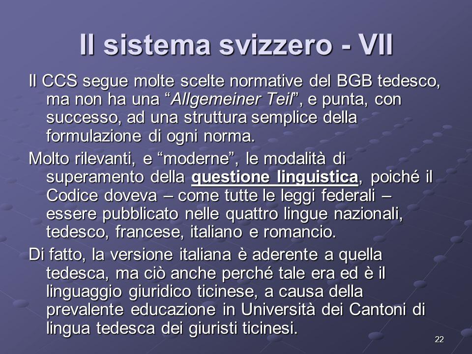 Il sistema svizzero - VII
