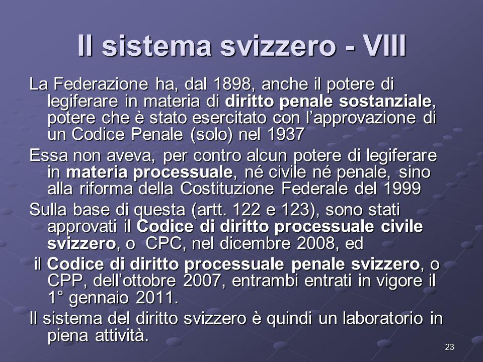 Il sistema svizzero - VIII