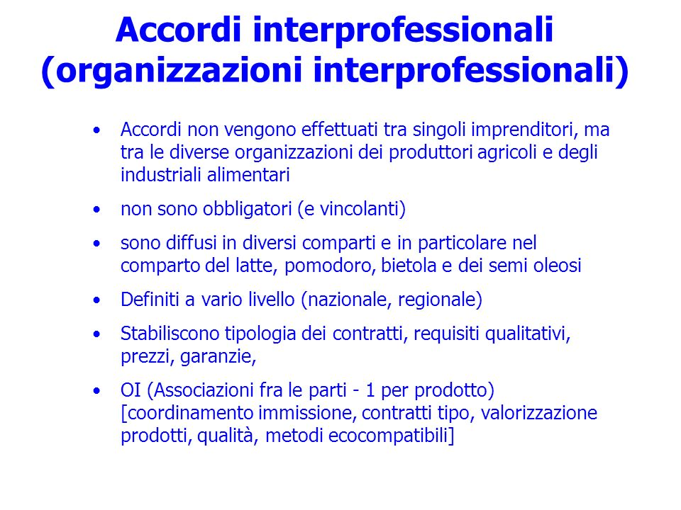 Accordi interprofessionali (organizzazioni interprofessionali)