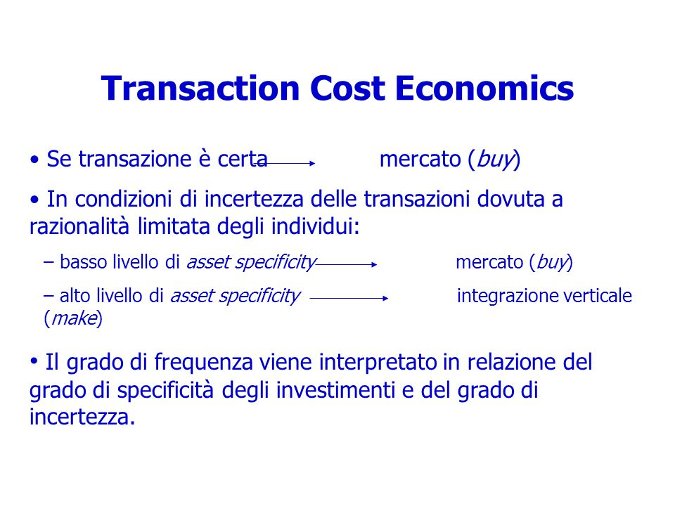 Transaction Cost Economics