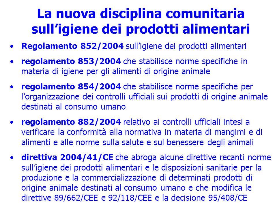 La nuova disciplina comunitaria sull'igiene dei prodotti alimentari