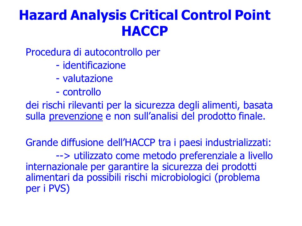 Hazard Analysis Critical Control Point HACCP