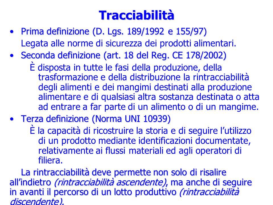 Tracciabilità Prima definizione (D. Lgs. 189/1992 e 155/97)