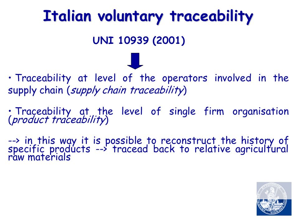 Italian voluntary traceability