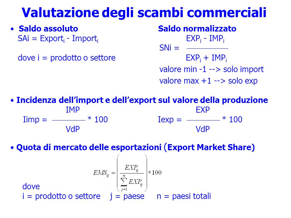 Valutazione degli scambi commerciali