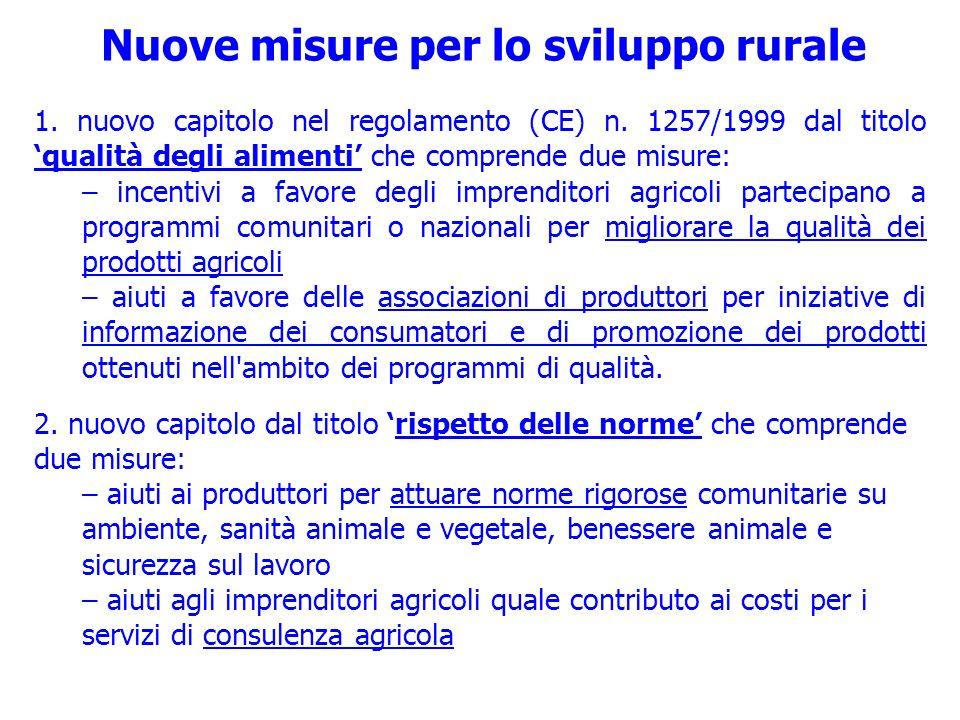 Nuove misure per lo sviluppo rurale