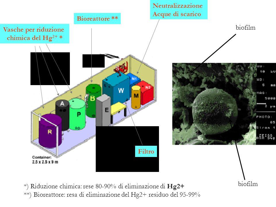 Vasche per riduzione chimica del Hg2+ * Bioreattore ** Neutralizzazione. Acque di scarico.