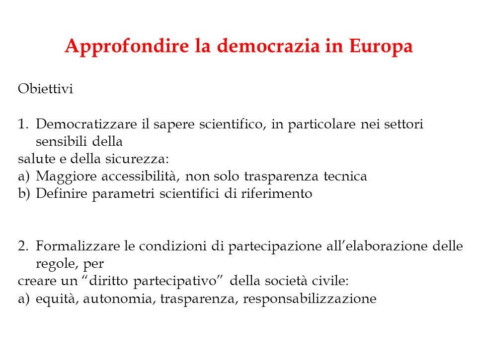 Approfondire la democrazia in Europa