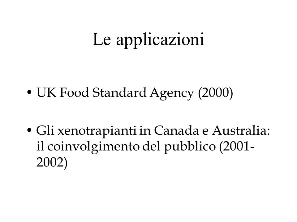 Le applicazioni UK Food Standard Agency (2000)