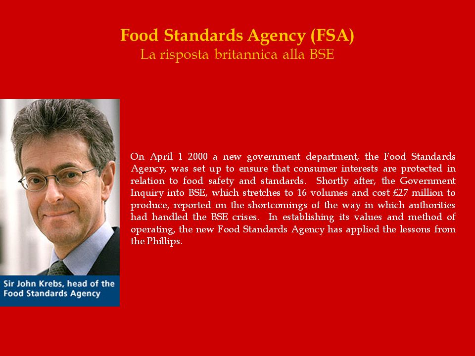Food Standards Agency (FSA) La risposta britannica alla BSE