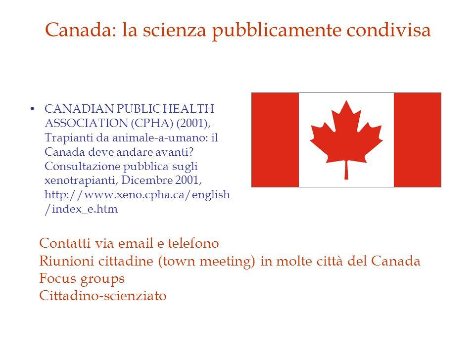 Canada: la scienza pubblicamente condivisa