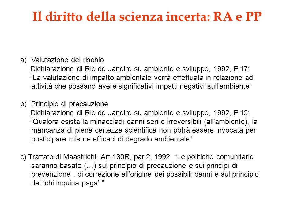 Il diritto della scienza incerta: RA e PP