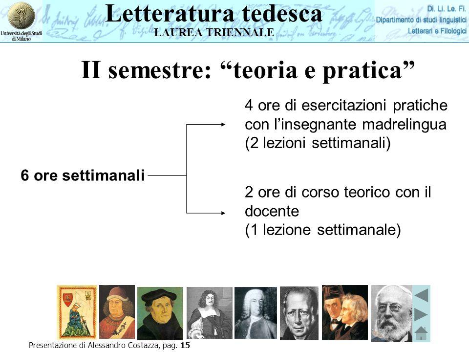 Letteratura tedesca LAUREA TRIENNALE II semestre: teoria e pratica