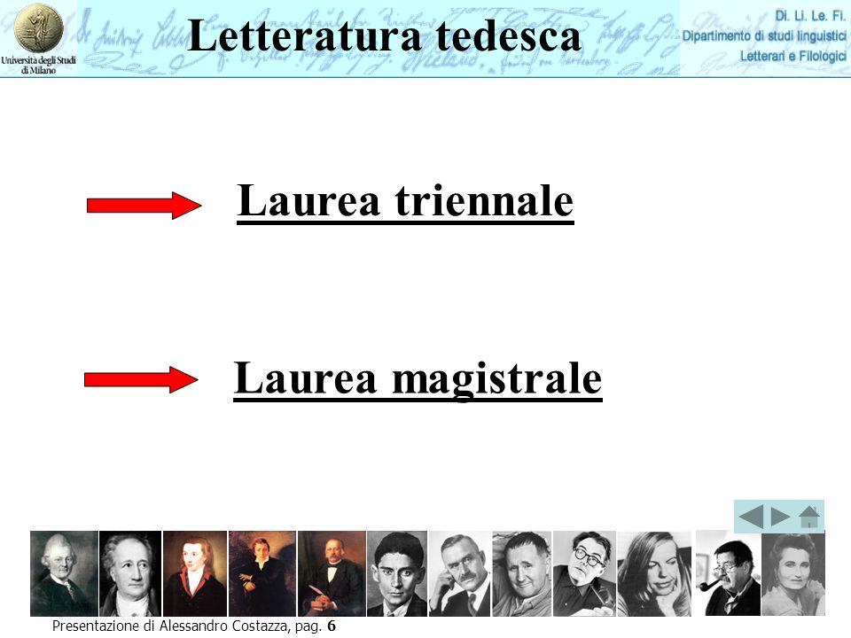 Letteratura tedesca Laurea triennale Laurea magistrale