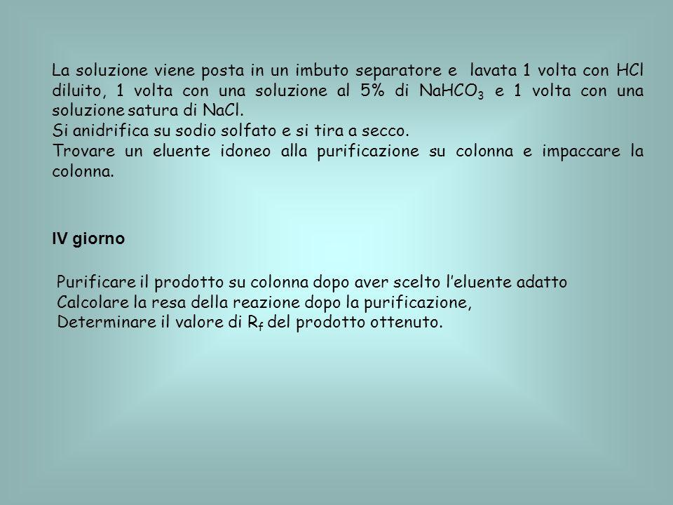 La soluzione viene posta in un imbuto separatore e lavata 1 volta con HCl diluito, 1 volta con una soluzione al 5% di NaHCO3 e 1 volta con una soluzione satura di NaCl.
