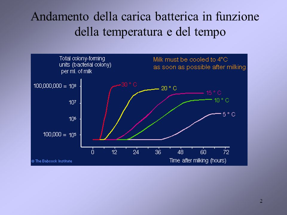 Andamento della carica batterica in funzione della temperatura e del tempo