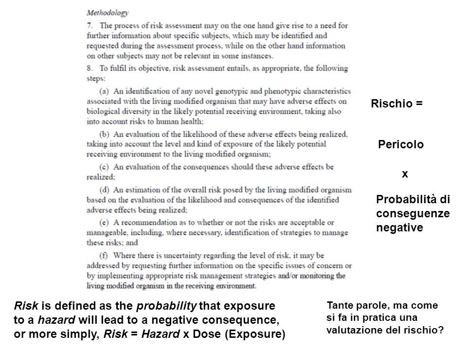 Probabilità di conseguenze negative