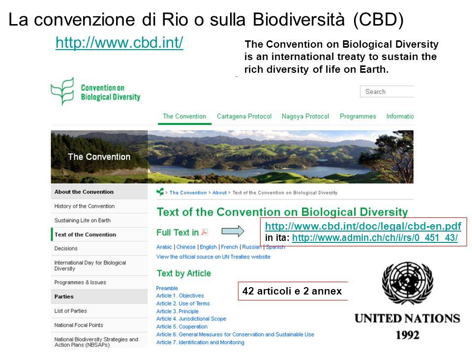 La convenzione di Rio o sulla Biodiversità (CBD) http://www.cbd.int/