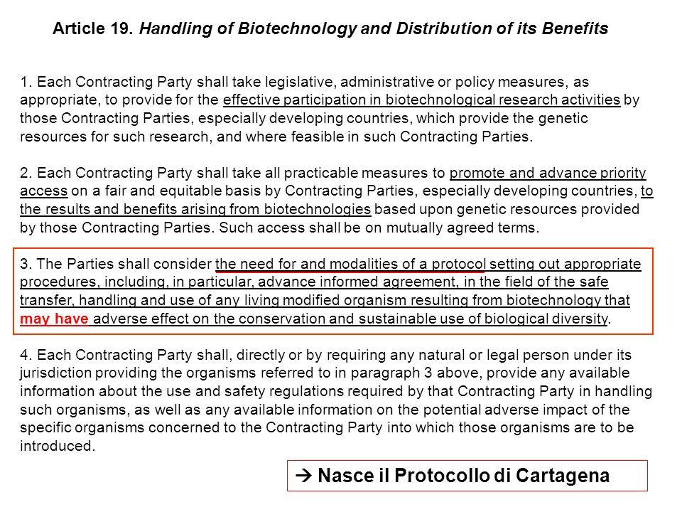  Nasce il Protocollo di Cartagena