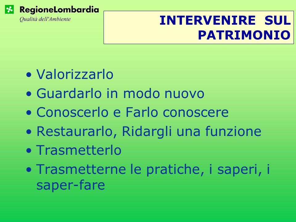 INTERVENIRE SUL PATRIMONIO