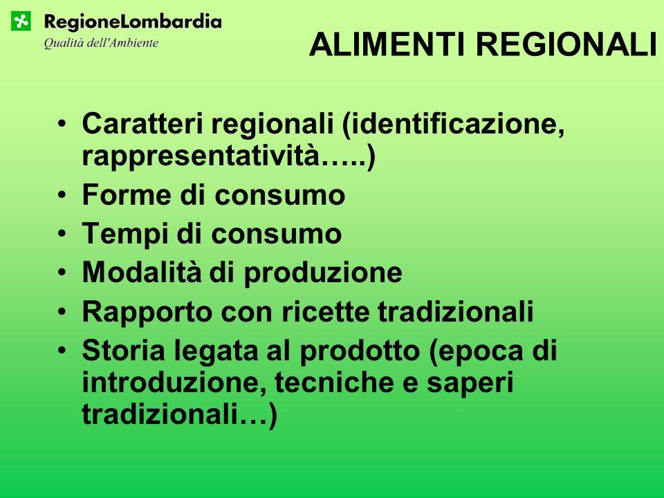ALIMENTI REGIONALI Caratteri regionali (identificazione, rappresentatività…..) Forme di consumo. Tempi di consumo.