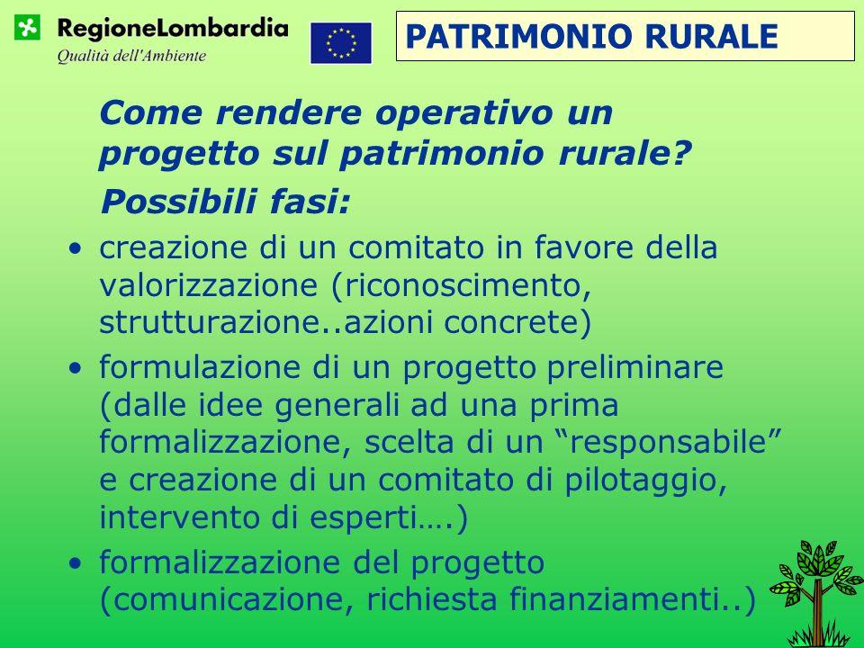 PATRIMONIO RURALE Possibili fasi: