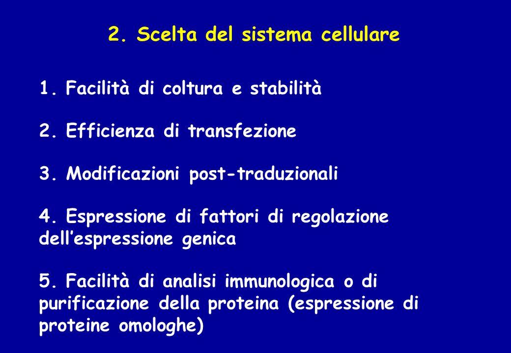2. Scelta del sistema cellulare