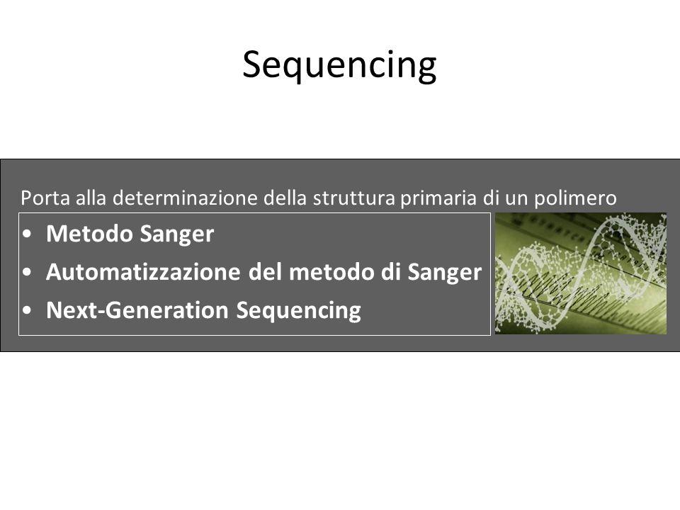 Sequencing Metodo Sanger Automatizzazione del metodo di Sanger