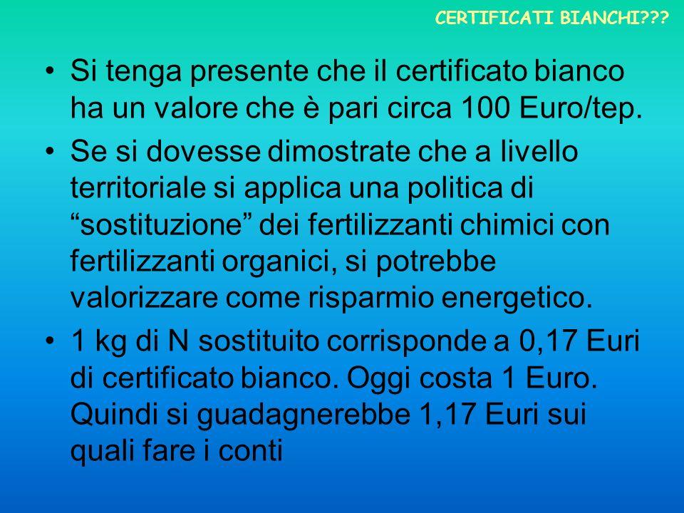 Certificati bianchi Si tenga presente che il certificato bianco ha un valore che è pari circa 100 Euro/tep.