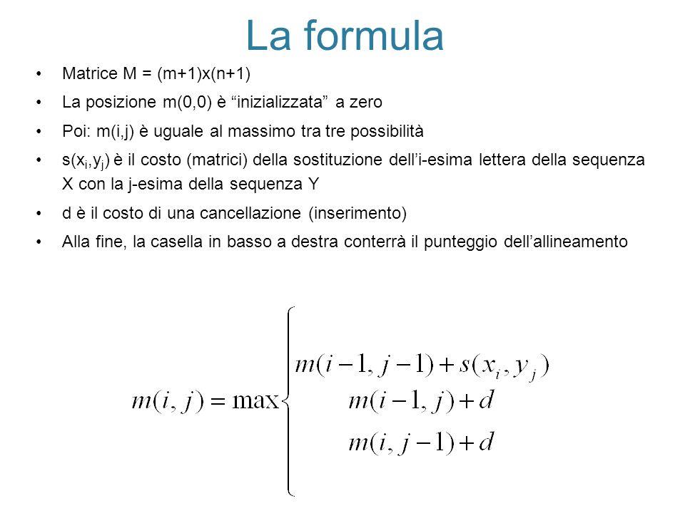 La formula Matrice M = (m+1)x(n+1)