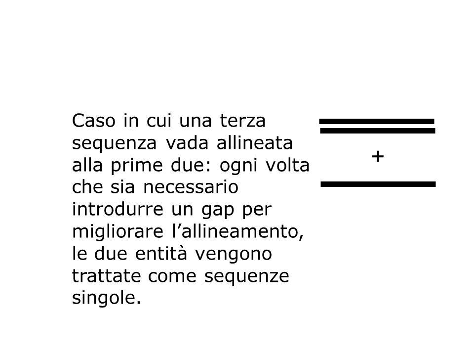 Caso in cui una terza sequenza vada allineata alla prime due: ogni volta che sia necessario introdurre un gap per migliorare l'allineamento, le due entità vengono trattate come sequenze singole.