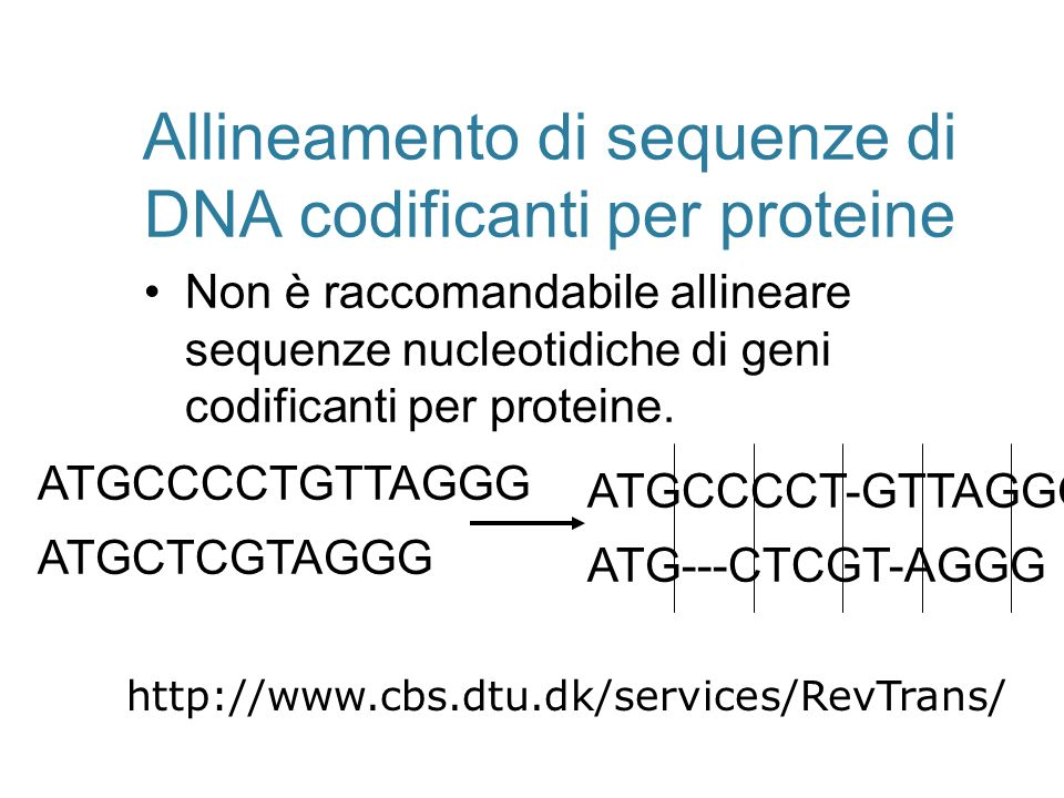 Allineamento di sequenze di DNA codificanti per proteine