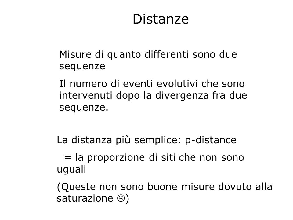Distanze Misure di quanto differenti sono due sequenze