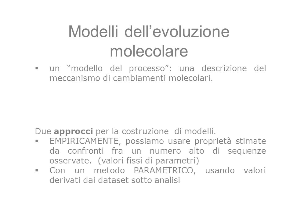Modelli dell'evoluzione molecolare