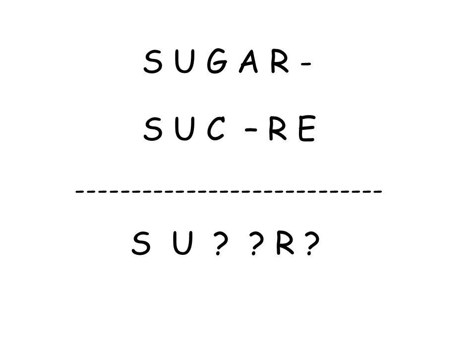 S U G A R - S U C – R E ---------------------------- S U R