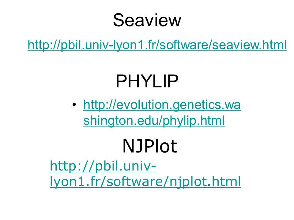 Seaview PHYLIP NJPlot http://pbil.univ-lyon1.fr/software/seaview.html
