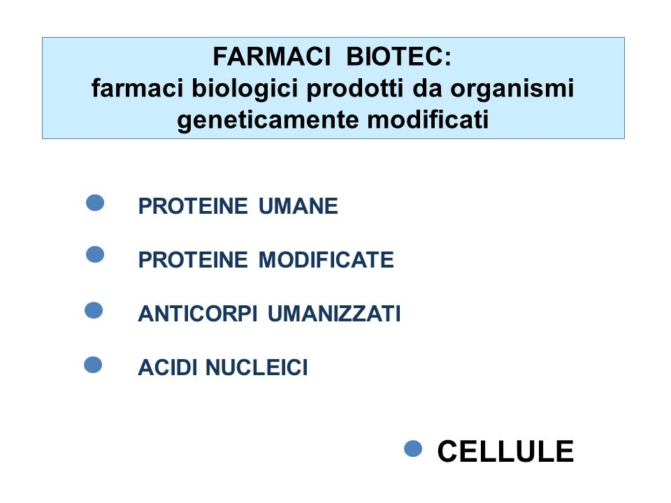farmaci biologici prodotti da organismi geneticamente modificati
