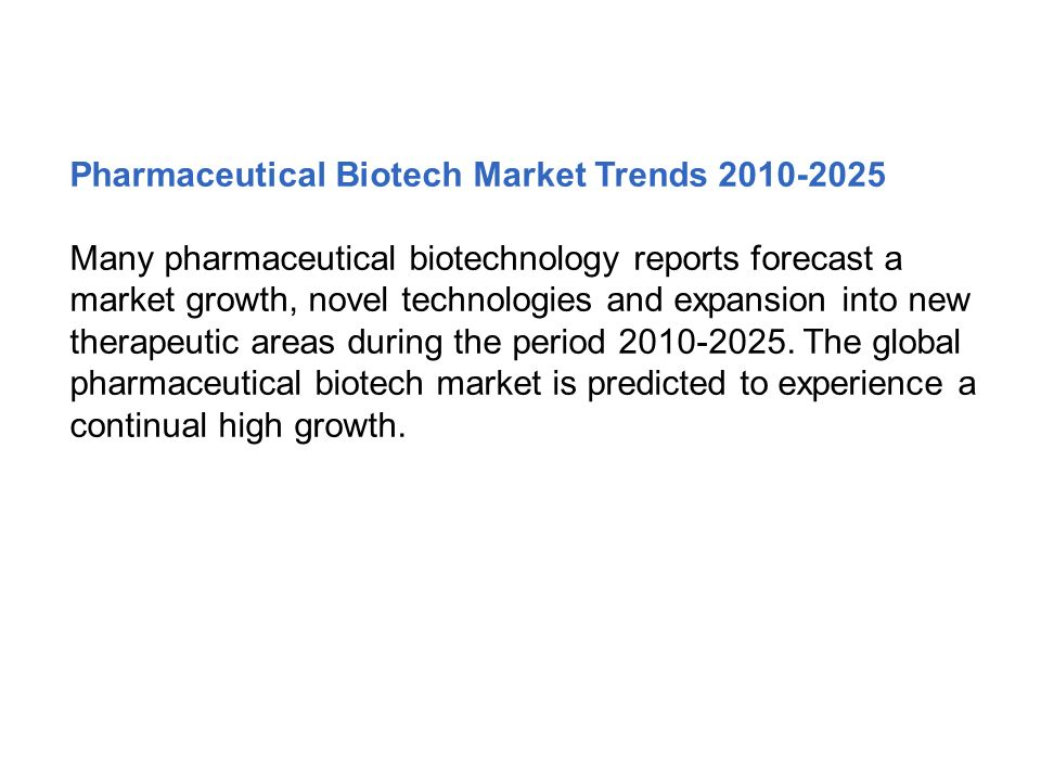 Pharmaceutical Biotech Market Trends 2010-2025