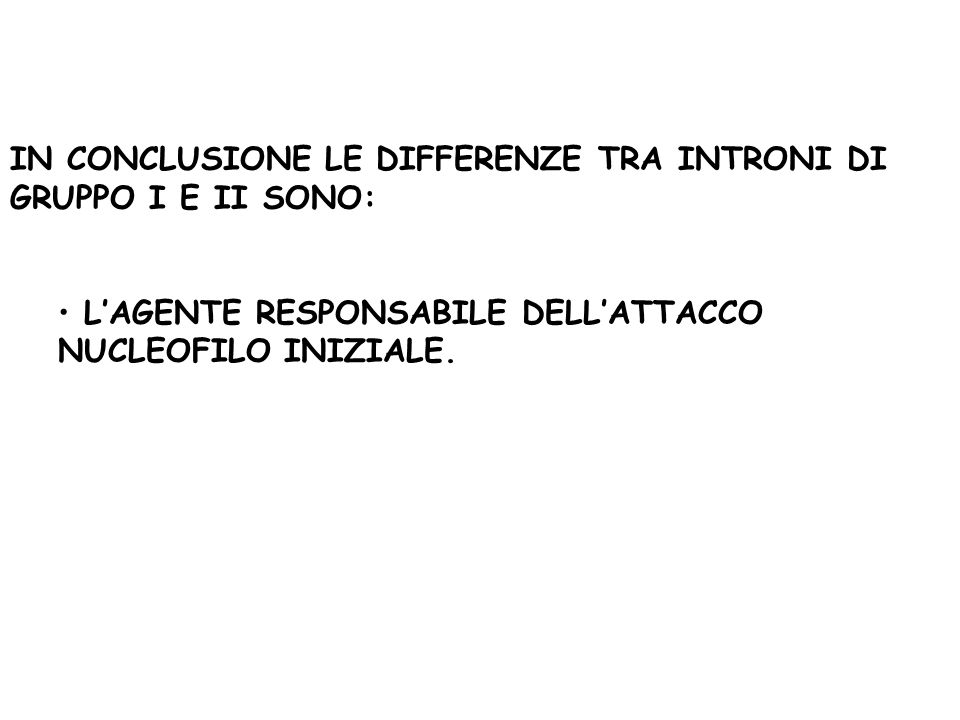 IN CONCLUSIONE LE DIFFERENZE TRA INTRONI DI GRUPPO I E II SONO: