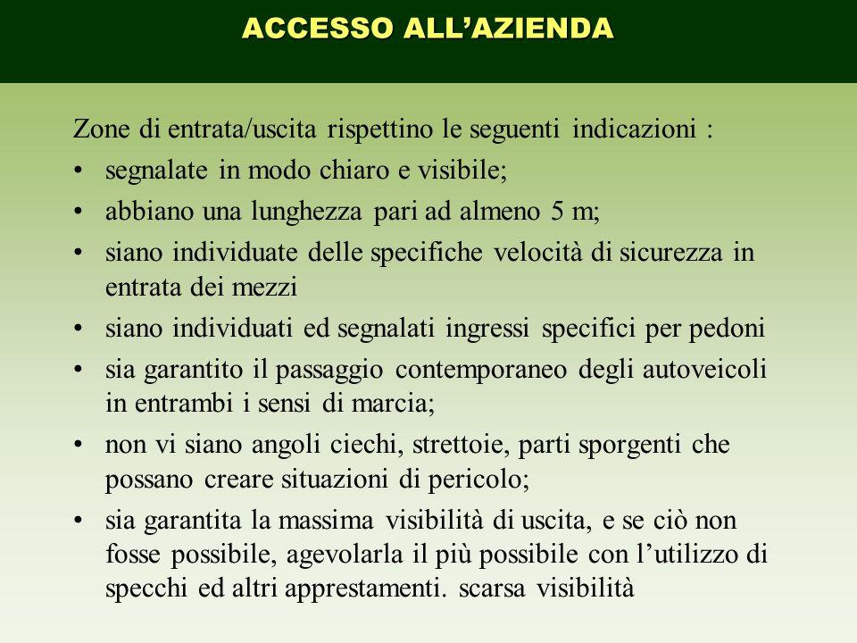ACCESSO ALL'AZIENDA Zone di entrata/uscita rispettino le seguenti indicazioni : segnalate in modo chiaro e visibile;