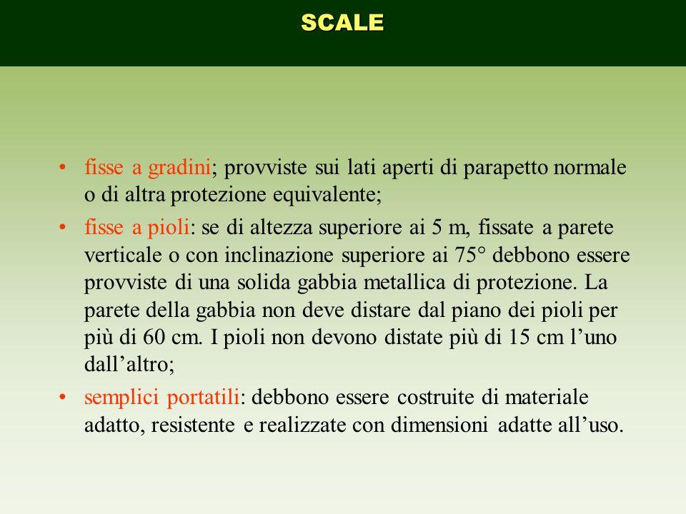 SCALE fisse a gradini; provviste sui lati aperti di parapetto normale o di altra protezione equivalente;