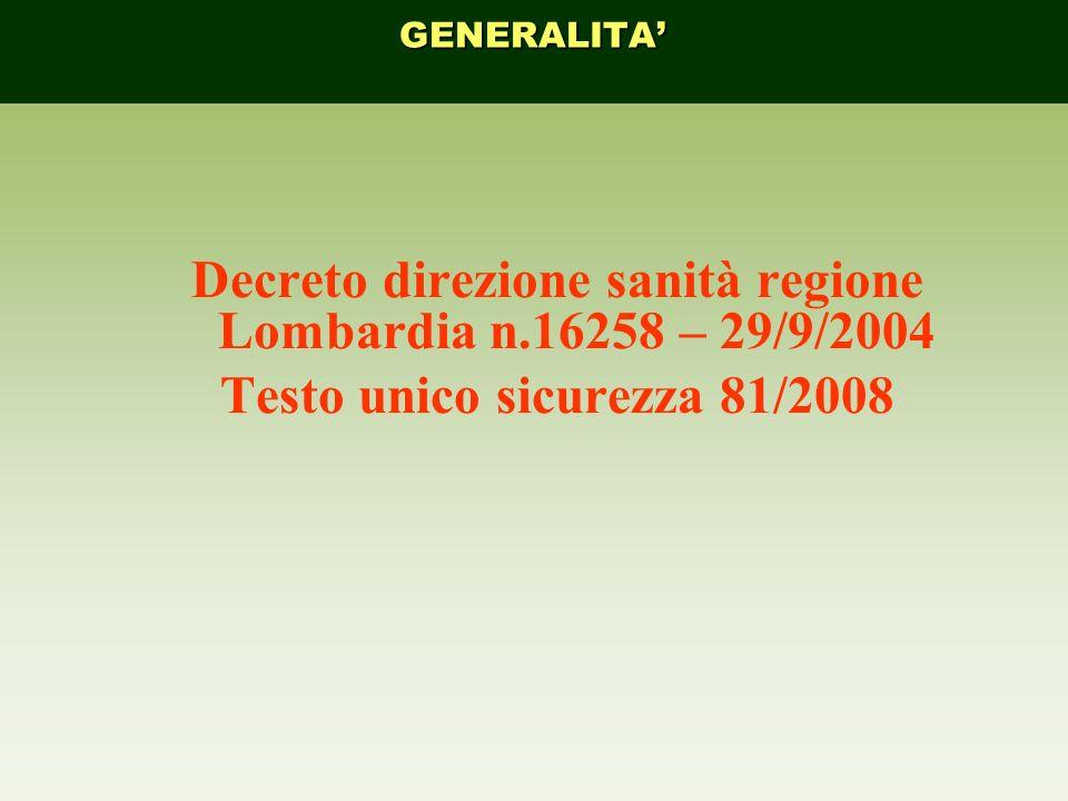 Decreto direzione sanità regione Lombardia n.16258 – 29/9/2004