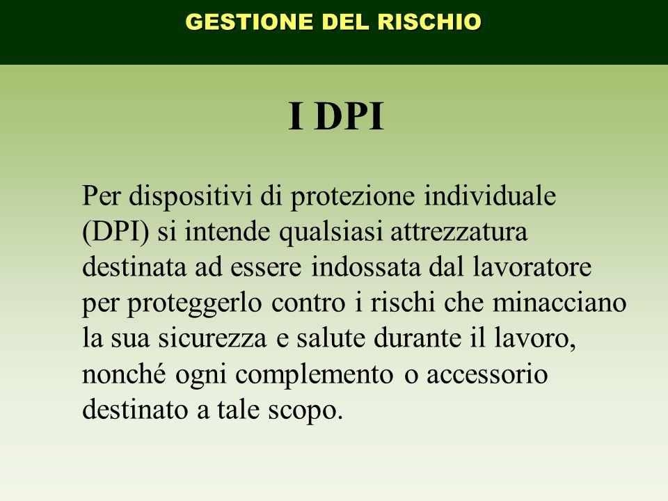 GESTIONE DEL RISCHIO I DPI.