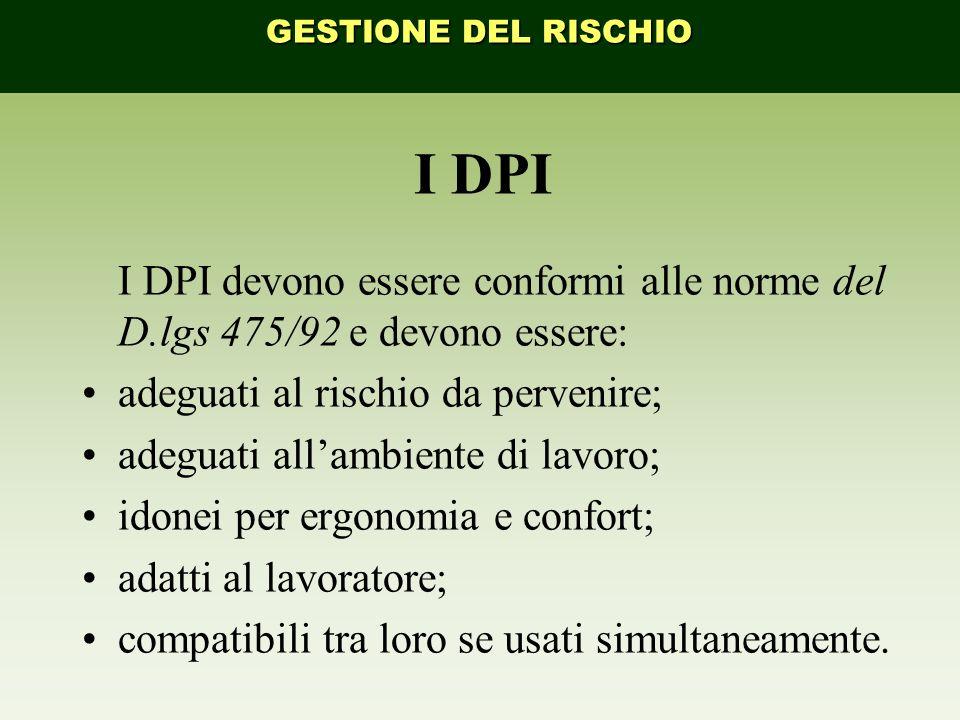 GESTIONE DEL RISCHIO I DPI. I DPI devono essere conformi alle norme del D.lgs 475/92 e devono essere: