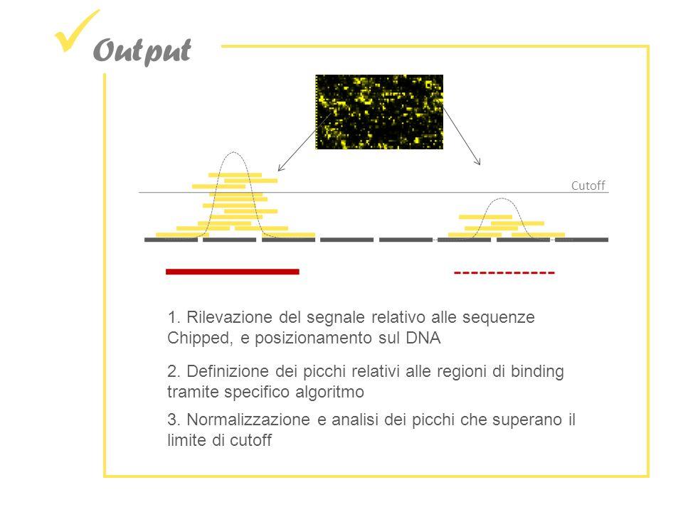 Output Cutoff. 1. Rilevazione del segnale relativo alle sequenze Chipped, e posizionamento sul DNA.