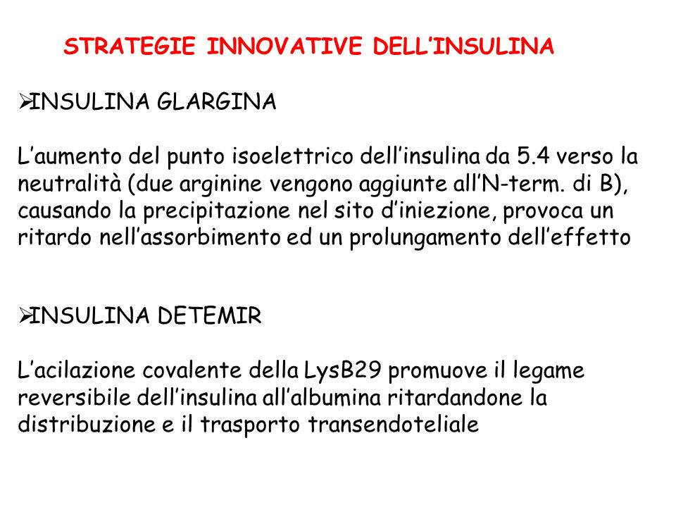 STRATEGIE INNOVATIVE DELL'INSULINA