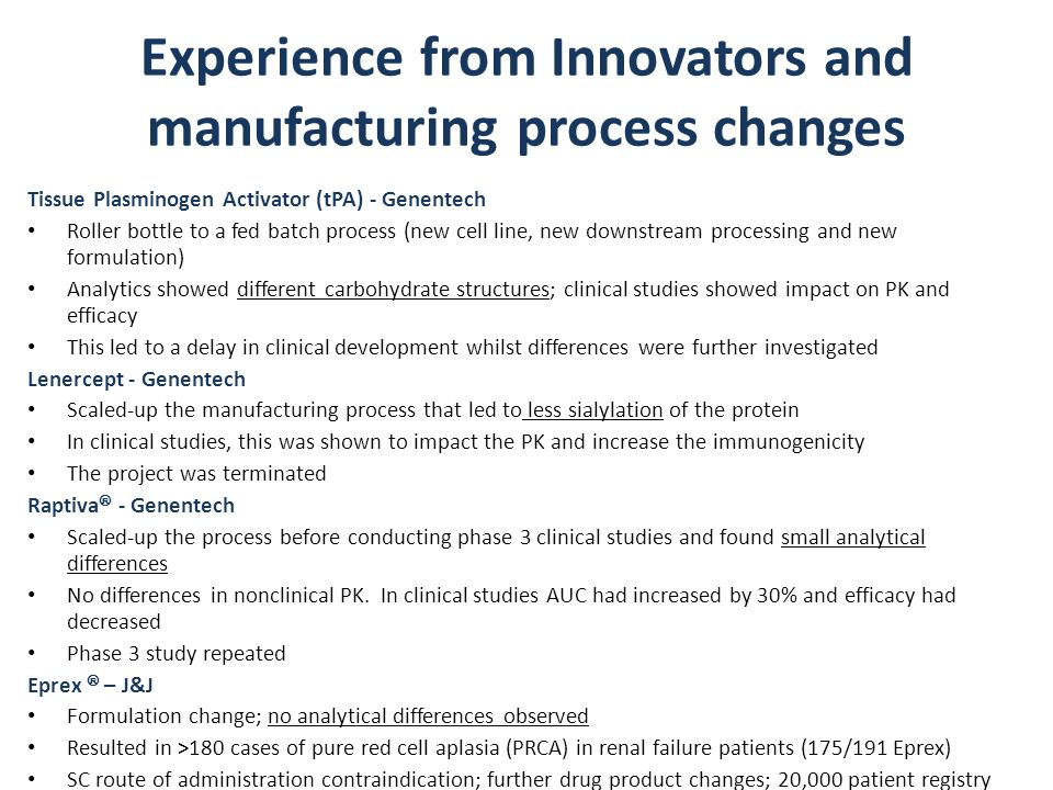 Experience from Innovators and manufacturing process changes
